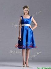 Exquisite Empire Square Taffeta Blue Prom Dress with White Belt THPD112FOR