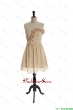 Exquisite Hand Made Flowers Short Champagne Prom Dress for  Homecoming DBEES027FOR