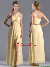 Exquisite One Shoulder Yellow Prom Dress with Beading and High Slit THPD009FOR