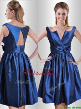 Exquisite Open Back Hand Crafted Flower Prom Dress in Royal Blue THPD241FOR