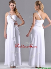 Fashionable Empire One Shoulder Chiffon Side Zipper White Prom Dress with Beading THPD255FOR