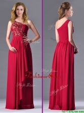 Fashionable Empire One Shoulder Sequins Red Prom Dress with Side Zipper THPD275FOR