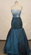 Fashionable Mermaid Sweetheart Floor-length Taffeta Blue Prom Dresses Beading Style FA-Z-00141