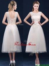 Fashionable Tea Length Scoop Prom Dress with Lace and Appliques BMT0185CFOR