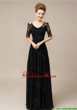 Gorgeous Half Sleeves Laced Black Prom Dresses with V Neck DBEE025FOR