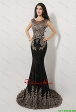 Gorgeous Mermaid Appliques and Beaded Prom Dresses in Black DBEE070FOR