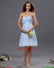 Gorgeous Ruching and Hand Made Flower Short Prom Dress in Light Blue DBEE527FOR