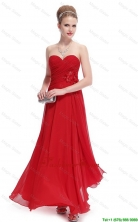 Gorgeous Sweetheart Ruched Red Prom Dresses with Appliques DBEE009FOR