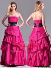 Hot Sale A Line Black Belt Prom Dress with Beaded Top and Bubbles THPD196FOR