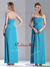 Hot Sale Ankle Length Hand Crafted Flower Prom Dress in Teal THPD049FOR