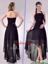 Hot Sale Halter Top High Low High Low Prom Dress with Beading THPD094FOR