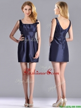 Hot Sale Square Handcrafted Flower Short Prom Dress in Navy Blue THPD043FOR