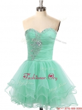 Latest A Line Organza Beaded Prom Dress in Apple Green SWPD018FOR