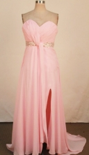 Lovely Empire Sweetheart-neck Floor-length Chiffon Pink Beading Prom Dresses Style FA-C-165