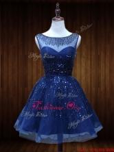 Lovely See Through Beaded Short Prom Dress in Royal Blue SWPD017FOR