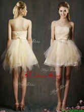 Lovely Sweetheart Short Champagne Prom Dress with Belt and Ruffles BMT0104BFOR