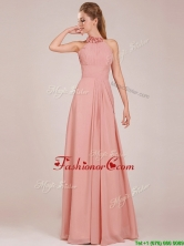 Low Price Halter Top Peach Long Prom Dress in Chiffon BMT0166DFOR