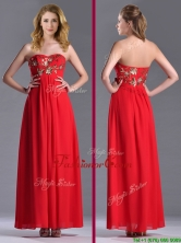 Luxurious Applique with Sequins Red Prom Dress in Ankle Length THPD302FOR