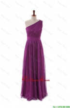 Luxurious One Shoulder Pleats and Belt Long Prom Dresses DBEES217FOR