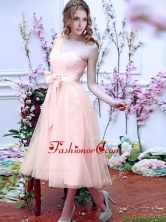 Luxurious One Shoulder Prom Dress with Bowknot and Hand Made Flowers BMT0106DFOR