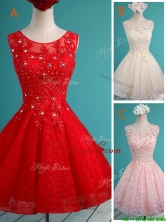 Luxurious See Through Scoop Short Prom Dress with Beading and Appliques BMT0120FOR