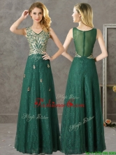Luxurious V Neck Dark Green Prom Dress with Appliques and Beading BMT0139-3FOR