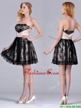 Modern Strapless Black Short Prom Dress with Lace and Belt THPD201FOR