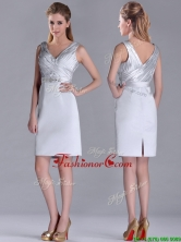 Modern V Neck Belted with Beading Prom Dress in Silver THPD131FOR
