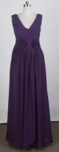 Modest Empire V-neck Floor-length Dark Purple Prom Dress LHJ42885