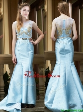Modest Mermaid Applique Brush Train Prom Dress in Light Blue BMT0172FOR