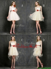 Most Popular Champagne Mini Length Prom Dress with Belt BMT0105FOR