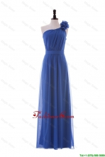 Most Popular Hand Made Flower One Shoulder Long Prom Dresses in Blue DBEES034FOR