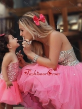 Most Popular Knee Length Prom Dress with Beading and New Style Beaded Little Girl Dress with Strapless DXZH003FOR