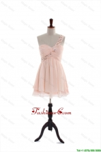 Most Popular One Shoulder Beading Short Prom Dresses in Pink DBEES229FOR