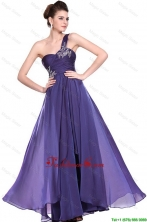 New Arrivals One Shoulder Purple Prom Dresses with Beading DBEE093FOR