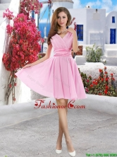 New Style 2016 Pink Prom Dresses with Belt BMT061HFOR