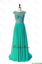 New Style Bateau Beading Brush Train Prom Dress in Turquoise  DBEES049FOR