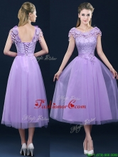 New Style Cap Sleeves Lavender Prom Dress with Lace and Appliques BMT0184DFOR