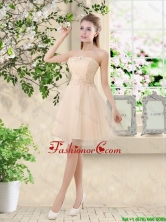 New Style Strapless Appliques and Belt Prom Dresses in Champagne  BMT043BFOR