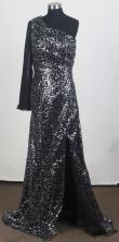 Perfect Empire One Shoulder Brush Black Prom Dress LHJ42870
