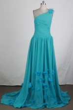Discount Empire One Shoulder Brush Teal Prom Dress LHJ428