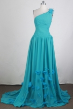 Perfect Empire One Shoulder Brush Teal Prom Dress LHJ42869