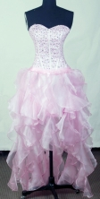 Perfect Empire Sweetheart Mini-length High-Low Light Pink Prom Dress LHJ42811