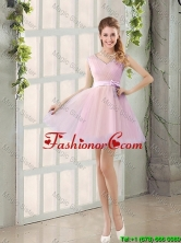 Perfect V Neck Strapless Short Prom Dresses with Bowknot BMT014C-3FOR