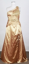 Plus Size Column One Shoulder Floor-length Gold Prom Dress LHJ42883