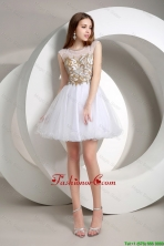 Popular A Line Beaded Mini Length Prom Dresses in White DBEE360FOR
