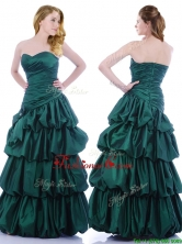 Popular A Line Ruched and Bubble Prom Dress in Hunter Green THPD320FOR