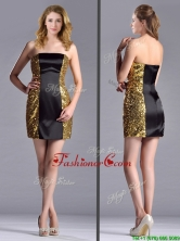 Popular Column Black and Gold Prom Dress in Sequins and Satin THPD317FOR