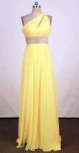 Popular Empire One-shoulder neck Floor-length Yellow Beading Prom Dresses Style FA-C-159