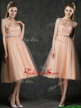 Popular High Neck Peach Prom Dress with Sashes and Lace BMT0100BFOR